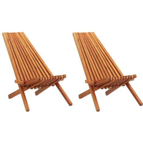 Garten-Liegestühle 2 Stk. Massivholz Akazie