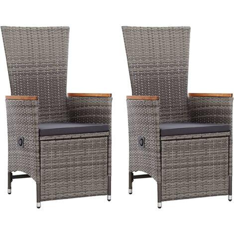 Garten-Liegestühle 2 Stk. mit Auflagen Poly Rattan Grau