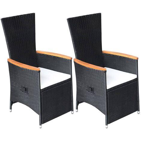 Garten-Liegestühle 2 Stk. mit Auflagen Poly Rattan Schwarz