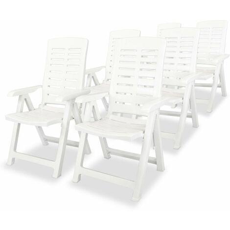 Garten-Liegestühle 6 Stk. Kunststoff Weiß