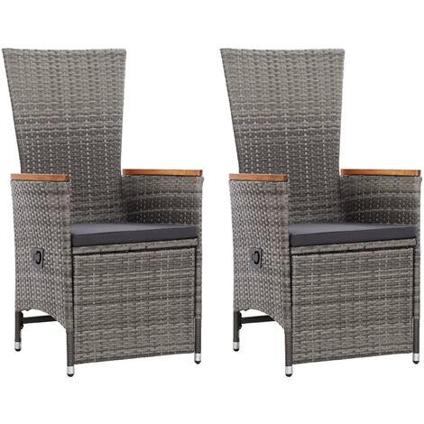 Garten-Liegestuhle 2 Stk. mit Auflagen Poly Rattan Grau