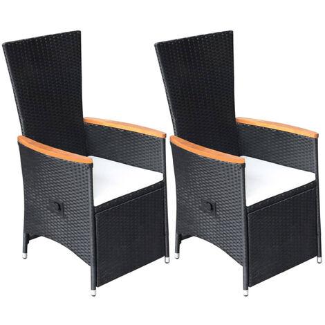 Garten-Liegestuhle 2 Stk. mit Auflagen Poly Rattan Schwarz