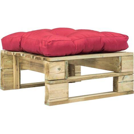 Garten-Palettenhocker mit Rotem Kissen Holz Grün