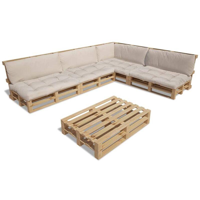 Garten-Palettensofa 15-tlg. Holz mit 9 Auflagen Sandfarben Weiß