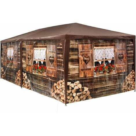 Garten Pavillon 6x3m Almhütte mit 6 Seitenteilen - Partyzelt, Anbaupavillon, Festzelt - braun