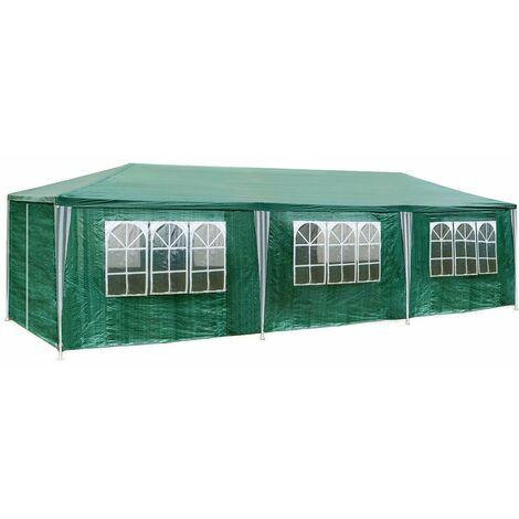 Garten Pavillon 9x3m mit 8 Seitenteilen - Partyzelt, Anbaupavilllon, Festzelt