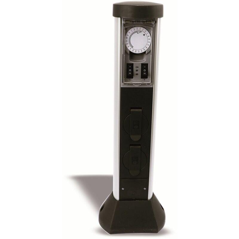 2-fach Garten-Steckdose mit Zeitschaltuhr REV 0068206258 IP44