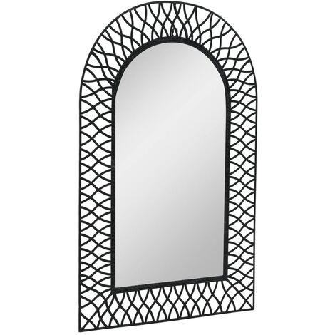 Garten-Wandspiegel Gewölbt 50 x 80 cm Schwarz