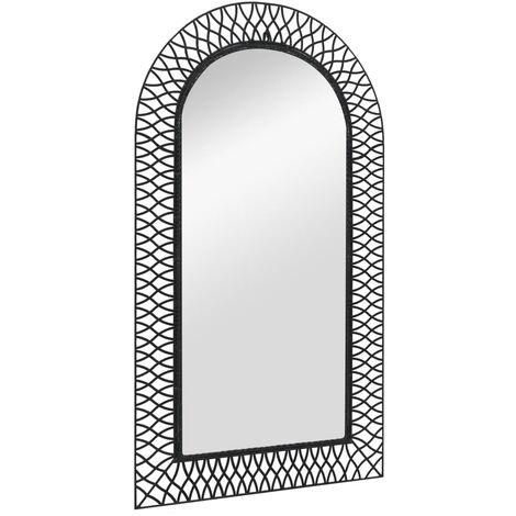 Garten-Wandspiegel Gewölbt 60 x 110 cm Schwarz