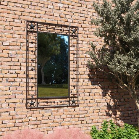 Garten-Wandspiegel Rechteckig 50×80 cm Schwarz