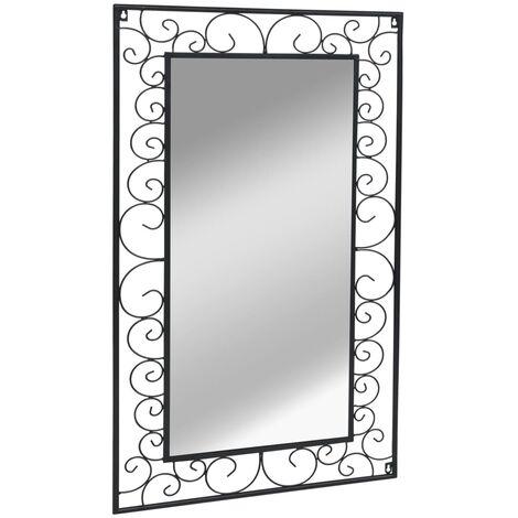 Garten-Wandspiegel Rechteckig 60 x 110 cm Schwarz