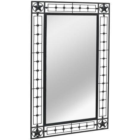 Garten-Wandspiegel Rechteckig 60×110 cm Schwarz