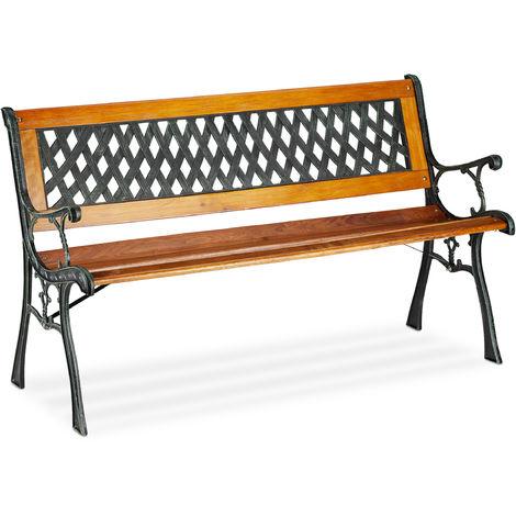 Gartenbank, 2-Sitzer, dekorative Rückenlehne, Gusseisen, Holzstreben, Parkbank, HxBxT 73 x 125 x 52 cm, natur