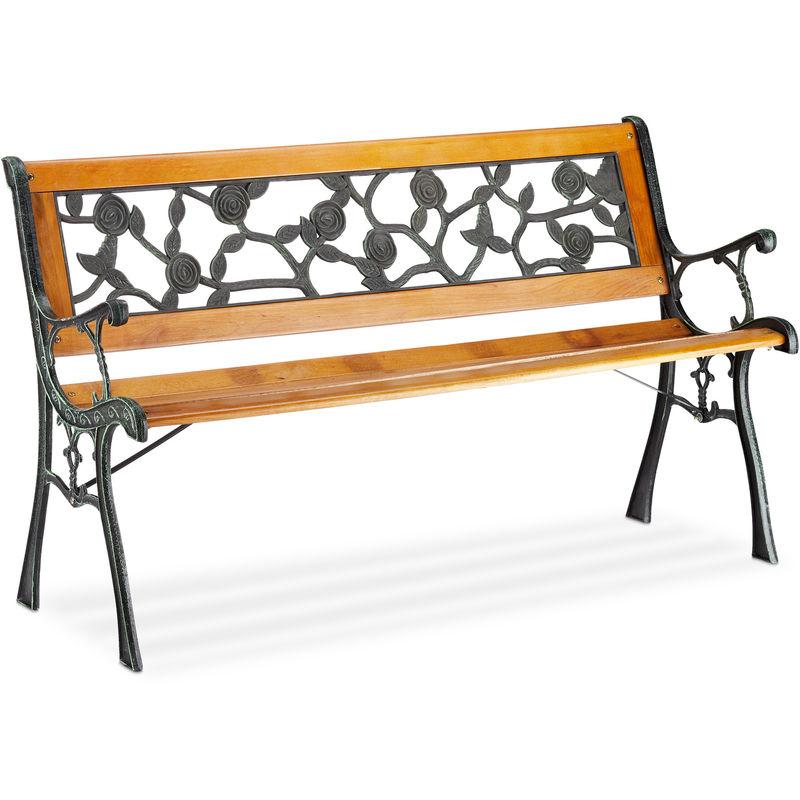 Relaxdays - Gartenbank, 2-Sitzer, mit Rosen-Ornamenten, Outdoor, Terrasse, Balkon, Parkbank HxBxT 73 x 125 x 52 cm, natur