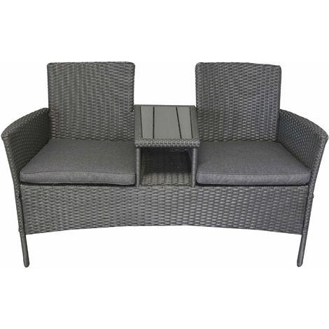 Berühmt Gartenbank 2-Sitzer mit Tisch & Sitzpolster Rattanoptik grau EC66