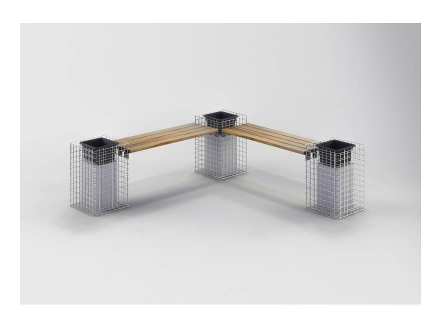 Gabiona - Gartenbank 3 Blumensäulen TEAK MW 5x5 - Teak Holz