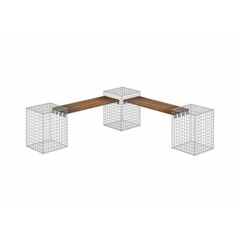 Gartenbank 3 Gabionen CUMARU MW 5x5 - Cumaru Holz