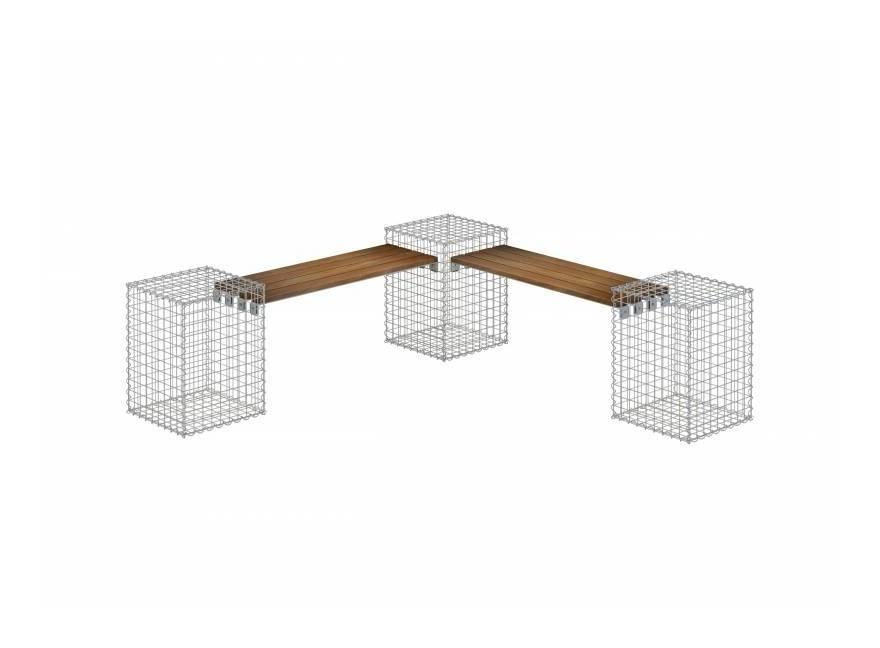Gartenbank 3 Gabionen TEAK MW 5x5 - Teak Holz - GABIONA