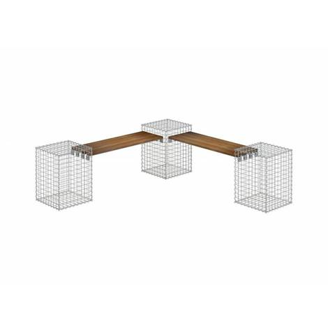 Gartenbank 3 Gabionen TEAK MW 5x5 - Teak Holz
