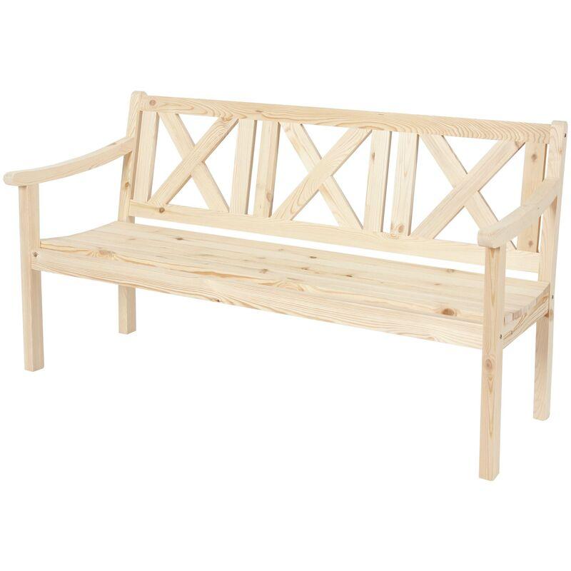 HHG - Gartenbank Bank Parkbank Mazara 3-Sitzer 160 cm Holz Gastronomie-Qualität ~ natur