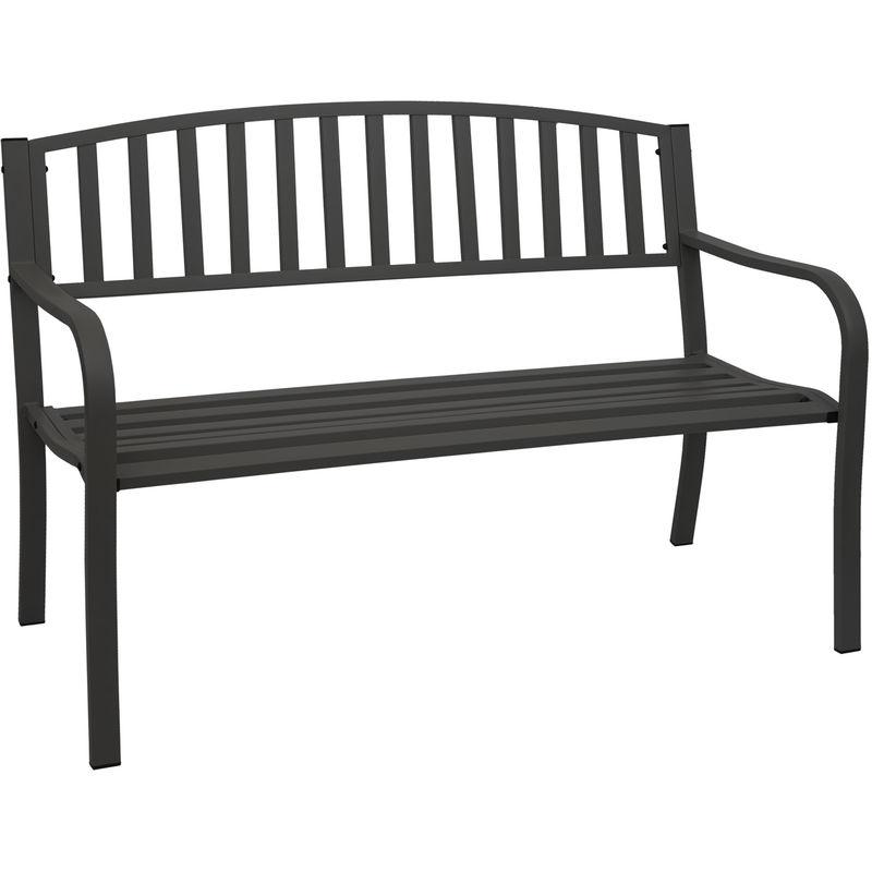 Gartenbank 696, Bank Parkbank Sitzbank, 2-Sitzer pulverbeschichteter Stahl ~ schwarz - HHG