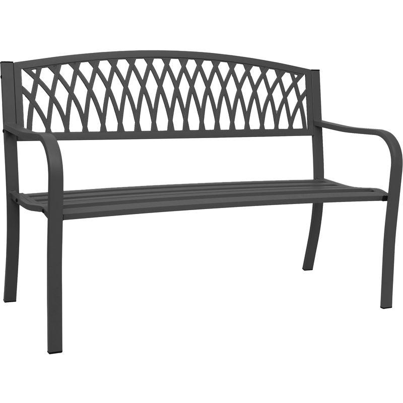 Gartenbank HHG-697, Bank Parkbank Sitzbank, 2-Sitzer pulverbeschichteter Stahl ~ schwarz