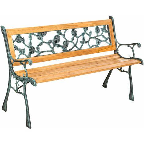 Gartenbank Marina aus Holz und Gusseisen - Gartenmöbel, Balkonmöbel, Bank - braun