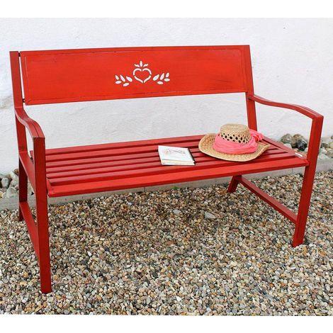 Gartenbank Metall Wetterfest Rot 2 Sitzer 120 cm Sitzbank Passion 121496 Eisen