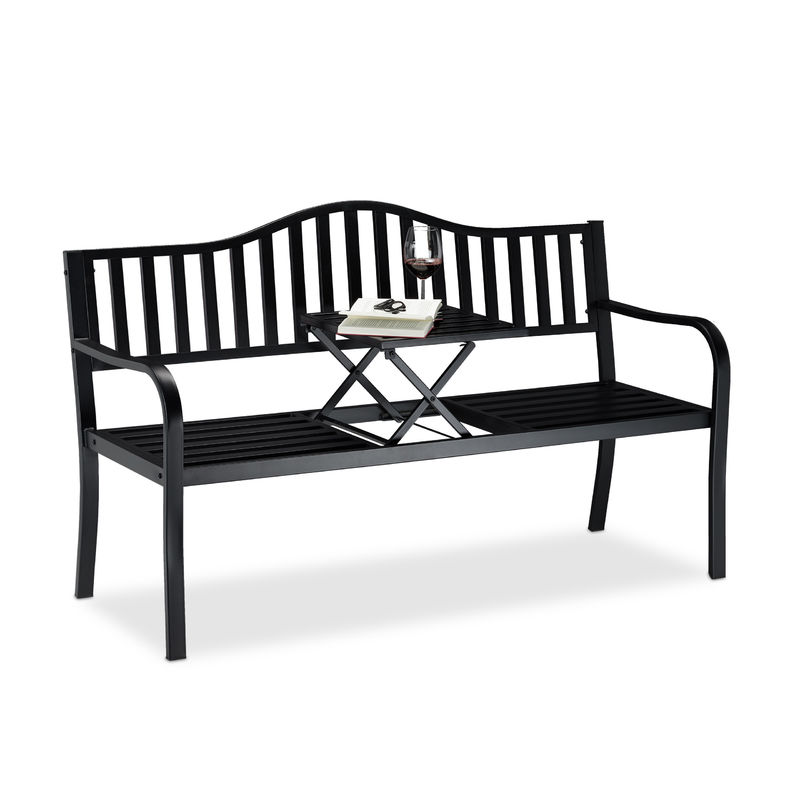 Gartenbank mit Klapptisch, 3-Sitzer, integrierte Tischablage, robuste Sitzbank, HBT: 90x150x57,5 cm, schwarz