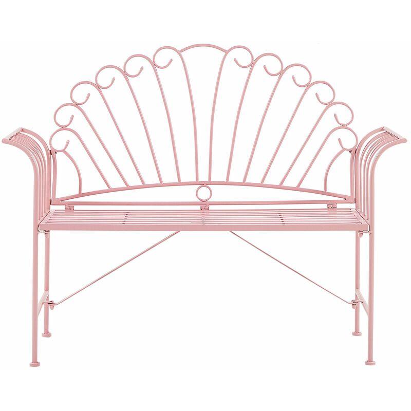 Gartenbank Metall Rosa Breite 125 cm für Terrsse für Garten für Balkon - BELIANI