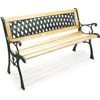 Gartenbank Sitzbank Inge aus Holz und Gusseisen mit Gittermotiv Parkbank Zweisitzer Bank
