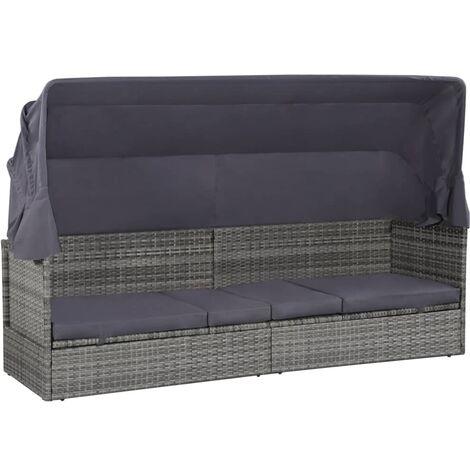 Gartenbett mit Baldachin Grau 205×62 cm Poly Rattan