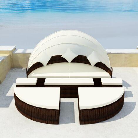 Gartenbett mit Dach Braun 186×226 cm Poly Rattan