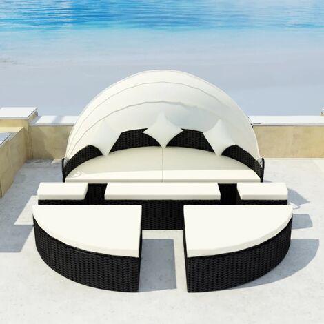 Gartenbett mit Dach Schwarz 186×226 cm Poly Rattan