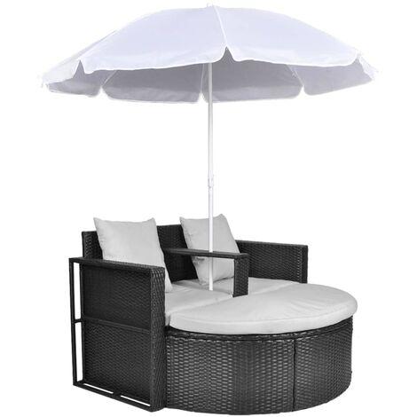 Gartenbett mit Sonnenschirm Schwarz Poly Rattan
