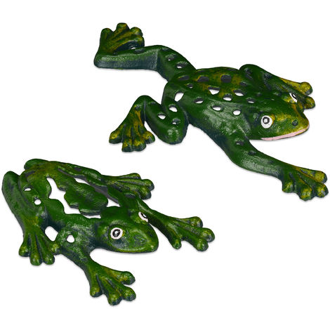 Gartenfigur Frosch, 2er Set, Gusseisen, wetterfest, lustige Gartendeko, Balkon, Terrasse, Froschfigur, grün