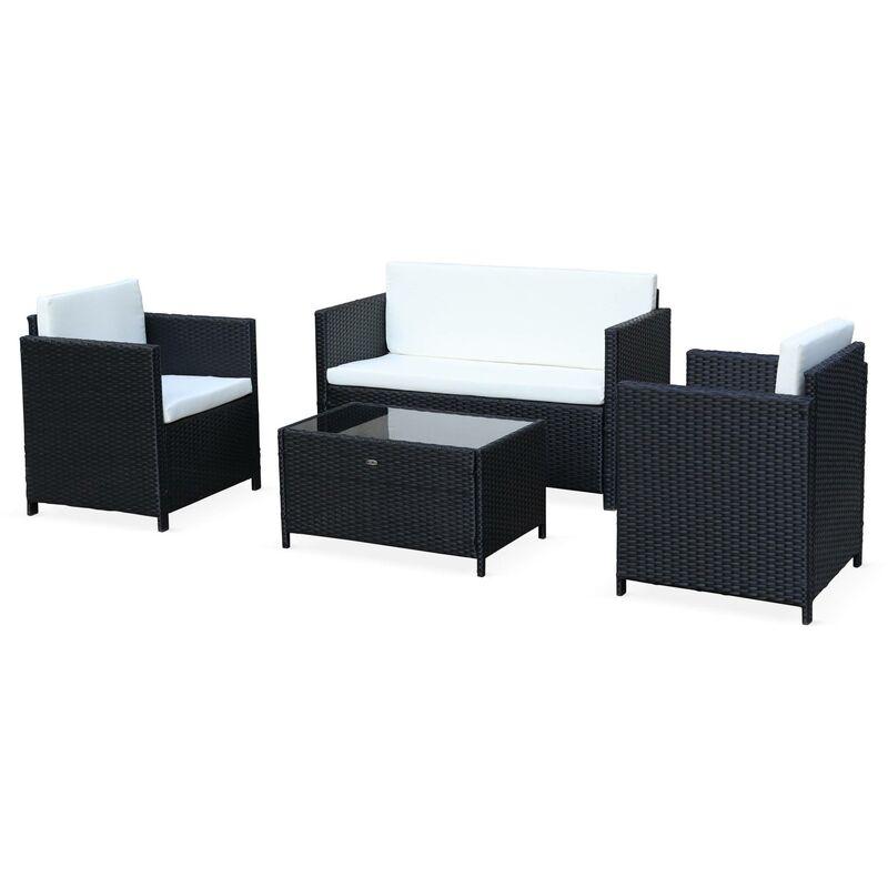Gartengarnitur aus Kunststoffrattan - Perugia - Schwarz, ecrufarbene Kissen - 4 Plätze - 1 Sofa, 2 Sessel, ein Couchtisch - ALICE'S GARDEN