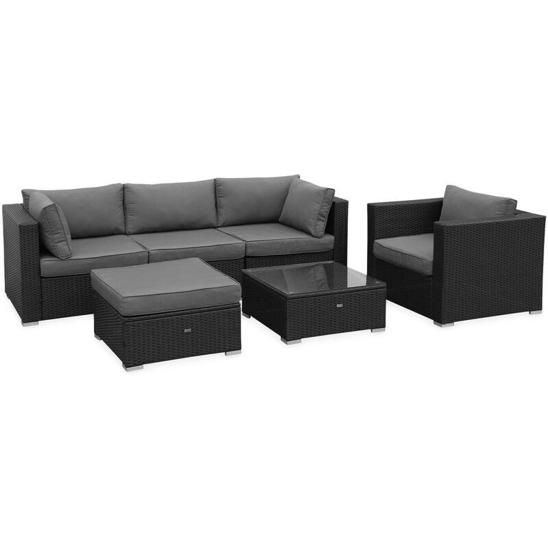 Gartengarnitur aus Polyrattan - Caligari - Schwarze, graue Kissen - 5 Plätze - 1 Sessel, 1 Sessel ohne Armlehne, 1 Fußstütze, 2 Ecksessel, ein
