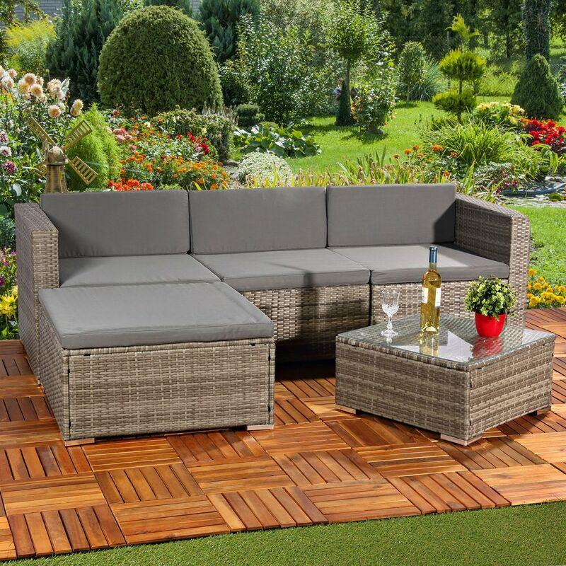 Gartengarnitur Sitzgruppe Lounge Garten Ecksofa Tisch Rattanmöbel grau 5tlg. - MUCOLA