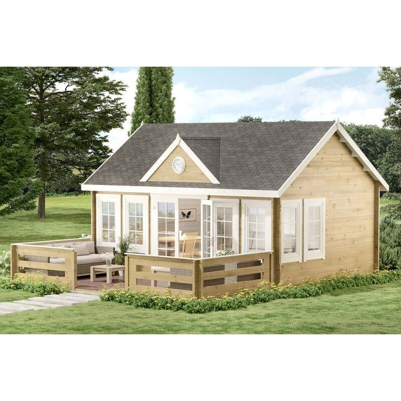 Gartenhaus Clockhouse-XL 44 mit Terrasse