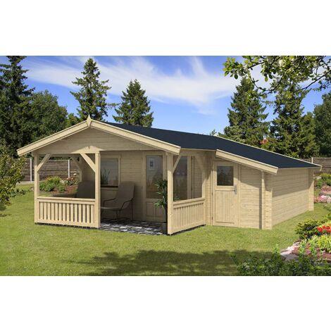 Gartenhaus Flex 50-C mit 200cm Terrasse + Anbau