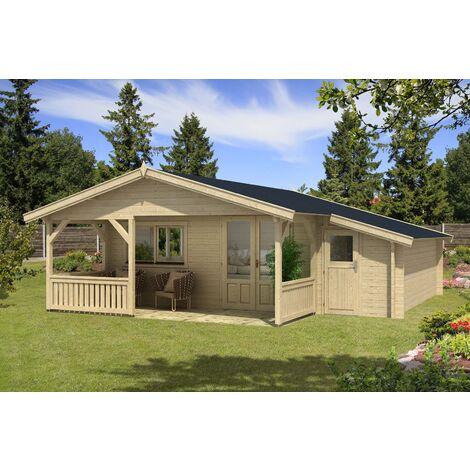 Gartenhaus Flex 50-E mit 200cm Terrasse + Anbau, ohne Imprägnierung ...