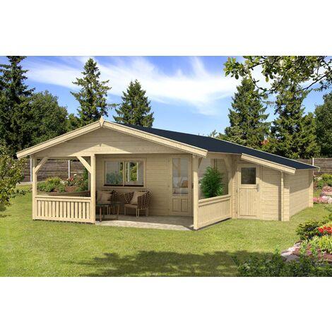 Gartenhaus Flex 50-E mit 300cm Terrasse + Anbau