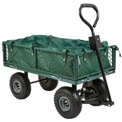Gartenkarren mit Gitter und 4 Rädern Schubkarre Handwagen