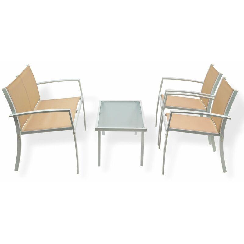 Dema - Gartenmöbel Sitzgruppe Miami beige 4-tlg. Metall Kunstfaser Sicherheitsglas