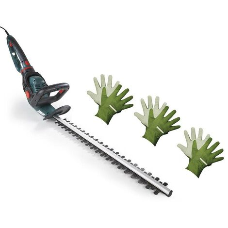 GartenMeister Taille haie électrique GM 5551 + 3 paires de gants de jardinage pour homme