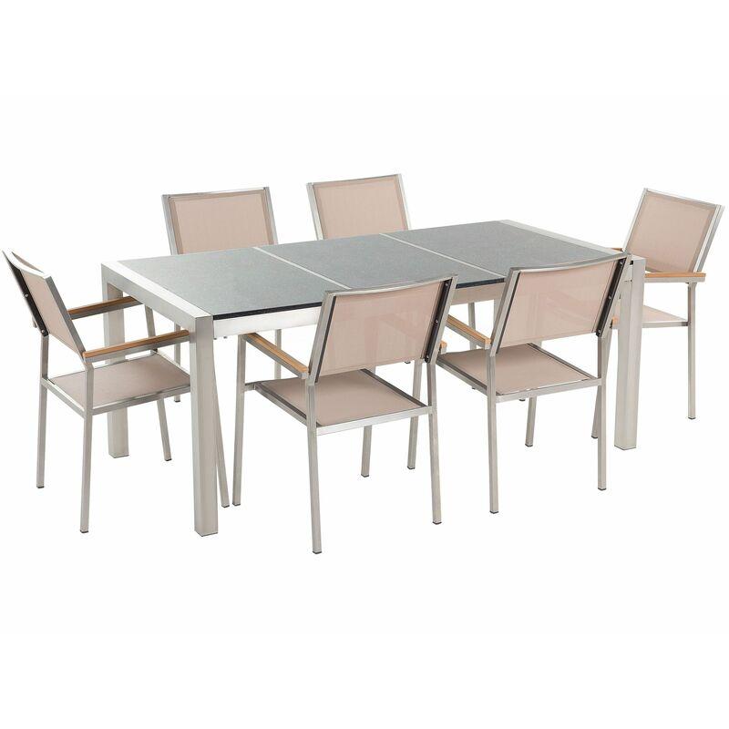 Gartenmöbel Set Grau Beige Granit Edelstahl Tisch 180 cm Poliert 6 Stühle Terrasse Outdoor Modern