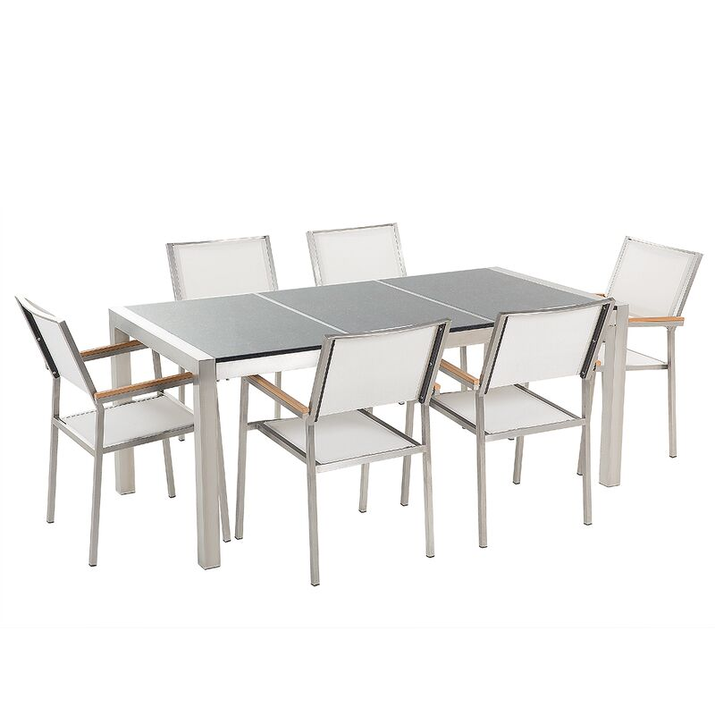 Gartenmöbel Set Grau Weiß Granit Edelstahl Tisch 180 cm Poliert 6 Stühle Terrasse Outdoor Modern - BELIANI
