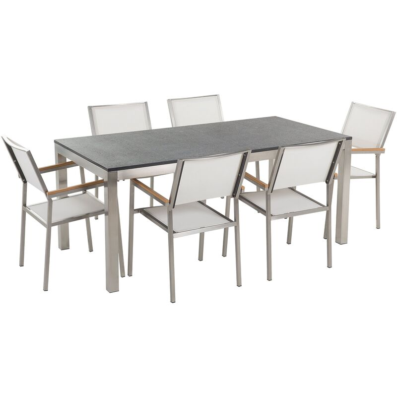 Gartenmöbel Set Schwarz Weiß Granit Edelstahl Tisch 180 cm Poliert 6 Stühle Terrasse Outdoor Modern - BELIANI