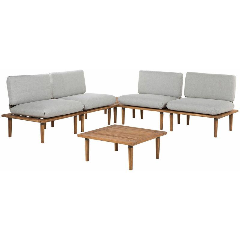Gartenmöbel Set Hellbraun Hellgrau Akazienholz 4-Sitzer Terrasse Outdoor Mediterran Stil - BELIANI